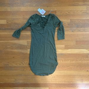 Olive Green T- Shirt Dress - NWT - size small